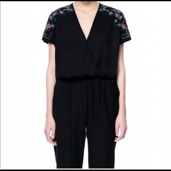 sale Zara sz m embroidered jumpsuit